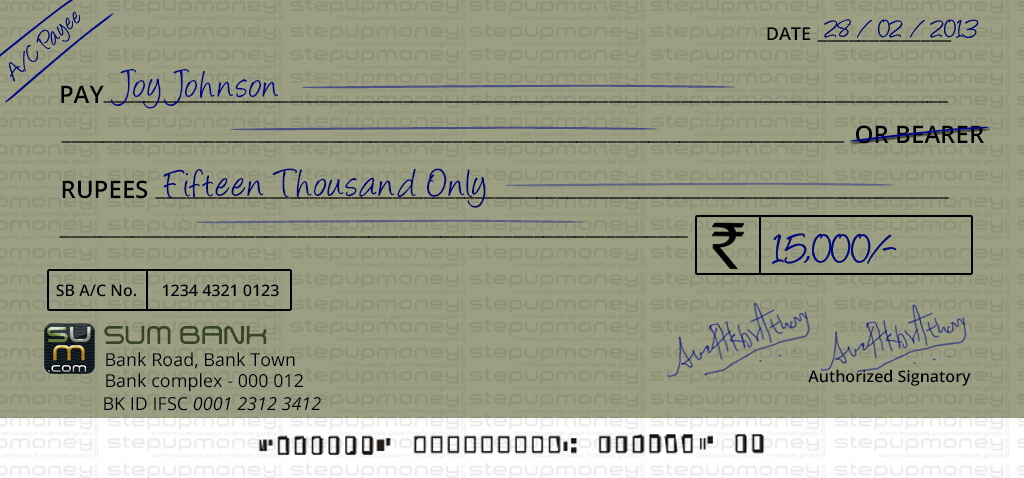 Correct way to write a cheque